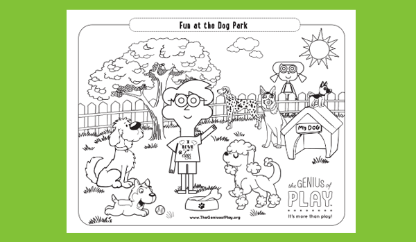 Fun at the Dog Park Coloring Sheet