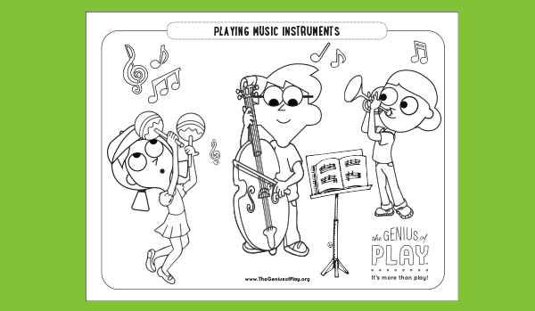 Music Instruments Coloring Sheet