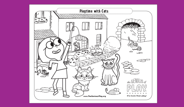 Playtime with Cats Coloring Sheet