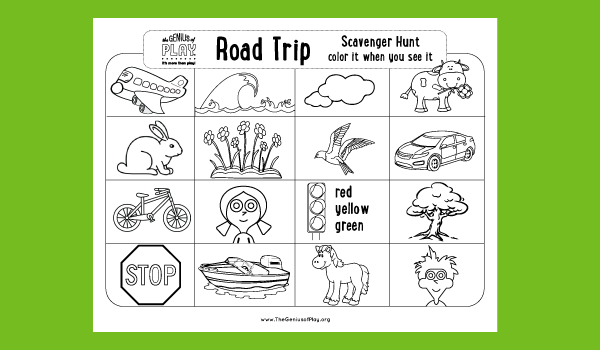 Road Trip Scavenger Hunt Coloring Sheet