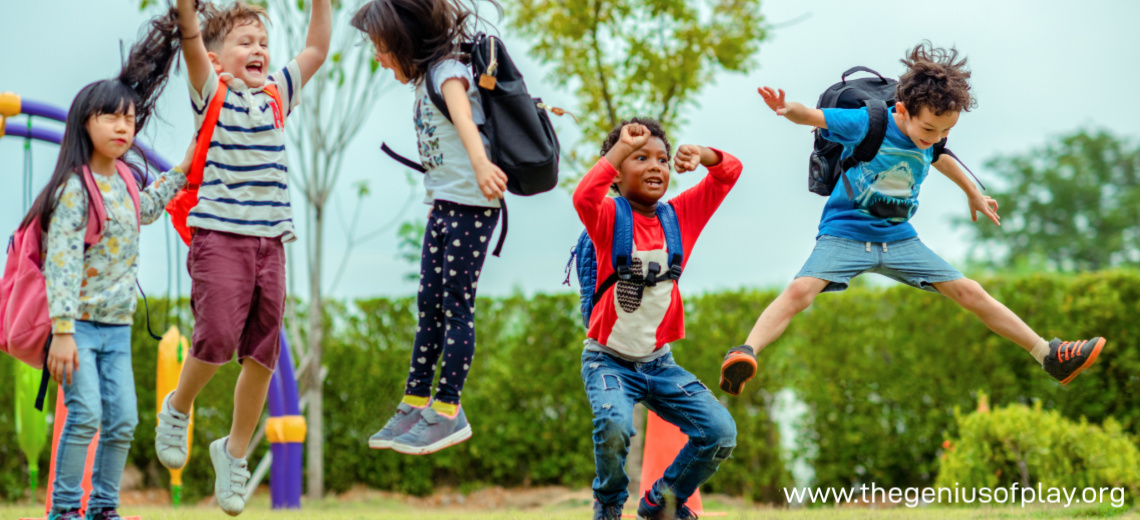 pre-Kindergarten children jumping up and down