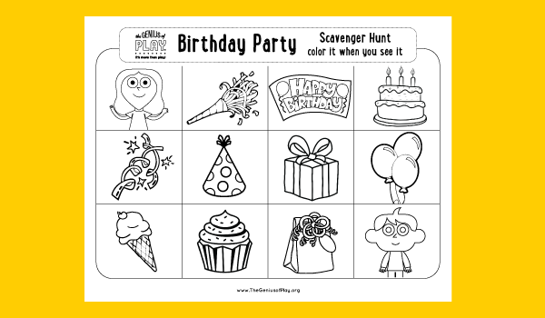 Birthday Party Scavenger Hunt Coloring Sheet
