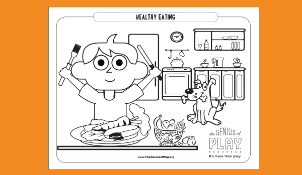 Healthy Eating Coloring Sheet