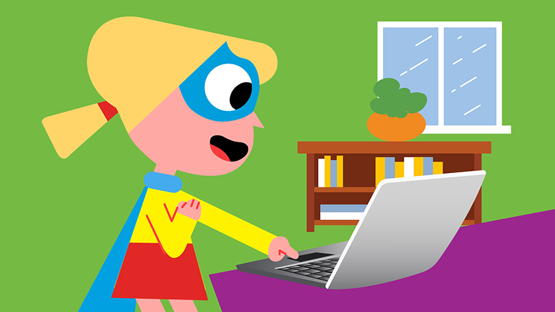 girl superhero on computer