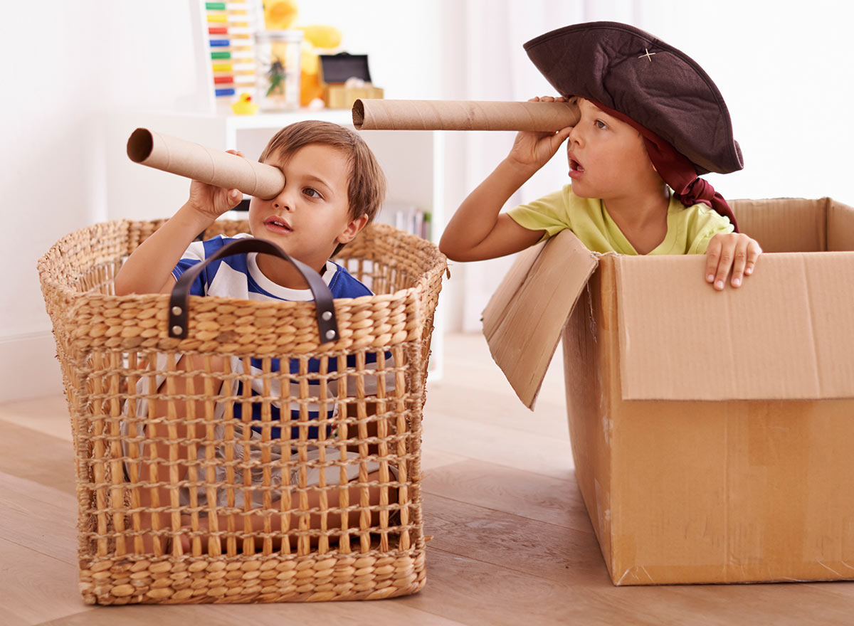 Kids Playing Pirates in a Box